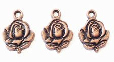 6 Antique Copper Rose Bud flower charms-Pendant Beading Supplies