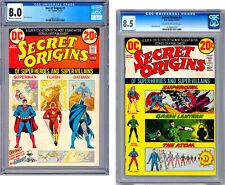 SECRET ORIGINS #1-2 CGC 8.0-8.5 *NICK CARDY COVERS* SUPERMAN BATMAN FLASH 1973