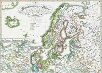Wunderschöne Landkarte SKANDINAVIEN🐺🐾 SCHWEDEN und POLEN im Mittelalter 1846