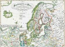 172 Jahre alte Landkarte Danmark Sverige Norge Suomi Polska im Mittelalter 1846