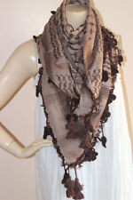 Keffiyeh Scarf-Latte and Brown Square Scarf with Hand Crochet Lace Flowers