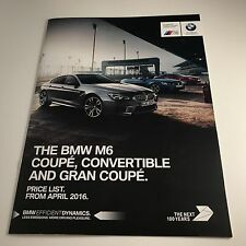 BMW M6 COUPE, CONVERTIBLE, & GRAN COUPE - BROCHURE PRICE LIST 2016