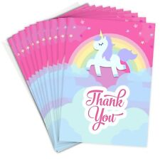 Pink Unicorn Thank You Cards -  Folding Style with Envelopes (Pack 10)