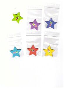 6  x   Ebay Sterne - Gelb, Blau, Türkis .Rot...Lila .Grün...Kühlschrankmagnete