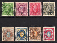Sweden 8 Stamps c1891-92 Used (7384)