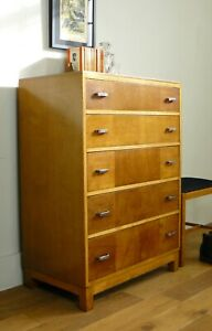 1930s Vintage  Heals Golden Oak 5 Drawer Chest of Drawers