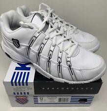 K-Swiss Approach Mens Low Athletic Tennis Shoe White Black Platinum Size 12 US