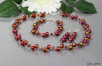 Glass Jewels Silber Schmuckset Perlen Kette Ohrringe Armband Rot Metallic #E037
