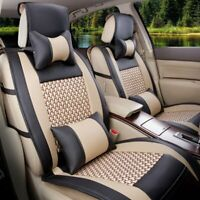 Car Seat Cover w/ Pillows Set PU Leather Mesh 5-Seats Front+Rear Black/ Beige