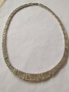 Sterling Silver Greek Design Panel Necklace