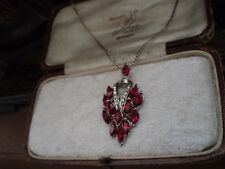Pendant Necklace with Chain Vintage Ruby Red Navette Crystal