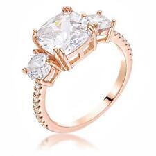 Cz Royal Bridal Anniversary Ring Size 8 Rose Gold 3.65 Tcw Triple Stone Cushion