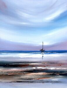 WATERCOLOUR PAINTING SEASCAPE Boat On The Water,Beach,Sea Sarah Featherstone ART