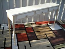 """Unfinished 60"""" Sofa, Console,Beveled Edge and Tapered Leg Pine Table w/3 drawers"""