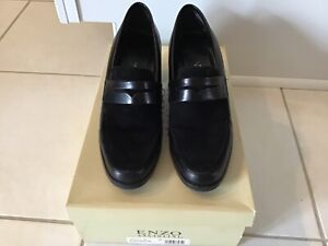 Vintage Enzo Angiolini Y-Attache Leather Block Heel Dress Loafer Black Womens 5M