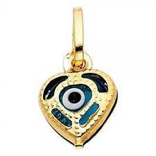 "14K Yellow Gold Evil Eye Heart Pendant. ""Free Box"""