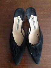 Manolo Blahnik Suede Black Kitten Heels Size 38.5