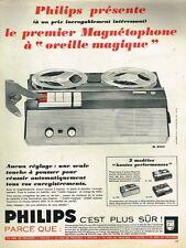 G- Publicité Advertising 1965 Le Magnetophone à Oreille magique Philips EL 3552