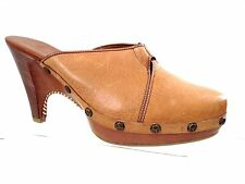 COLE HAAN WOMAN'S TAN LEATHER CLOGS HEELS WITH BRASS STUDS AND RING SIZE 10 B