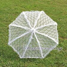 Elegant Handmade Vintage Lace Parasol Wedding Bridal Sun Umbrella w/ Floral Edge