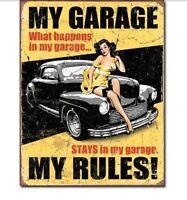 My Garage My Rules! Retro Vintage Look Metal Tin Sign Man Cave Shop Bar New