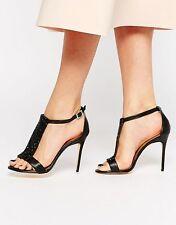 7f71d8d819a3 Ted Baker Primrose 9.5 Black Leather Heels Sandals Crystal Embellished