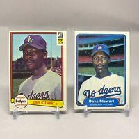 MLB LA Dodgers 1982 Donruss #410 & Fleer #24 Dave Stewart Rookie Card Set