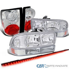"98-04 S10 Pickup Chrome Headlights+Bumper Lamps+Tail Lights+49"" LED Tailgate Bar"