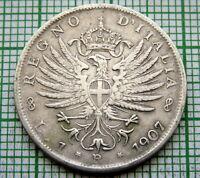 ITALY VITTORIO EMANUELE III 1907 R LIRA, SILVER BETTER GRADE