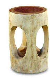 Wood Side Table 50 CM Round Solid Natural Flower Stand Pedestal Planter