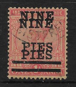 INDIA SG192c 1921 9p ON 1a ROSE-CARMINE SURCH DOUBLE VAR USED