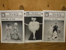 "3 Vicki's Original Design Pattern lot Ballerina &Costumes 17th Century 24"" dolls"