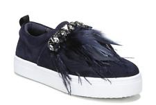 Sam Edelman Lelani Women's Blue Suede Faux Feather Sneakers Sz 7M 1110
