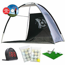 Golf Driving Net Starter Set + Ball & Swing Speed Radar +Grass Mat+24 Golf Balls