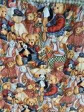"Handmade Blue Jean Teddy Bear Quilt  Baby Child Blanket 48""x55"" Collage Fabric"