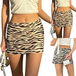 Womens Zebra Pattern Tight Sexy Skirt Summer Casual Holiday Bodycon Short Dress