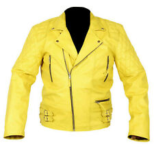 Vintage Yellow Jackets Classic Diamond Motorcycle Biker Real Leather Jackets