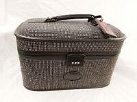 Vintage BlueTweed Retro Train Case Luggage Cosmetic Makeup Bag Suitcase