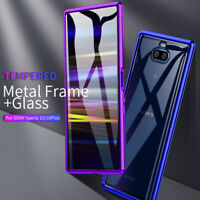 For Sony Xperia 10/Plus Luxury Aluminum Case Metal Bumper + Tempered Glass Cover