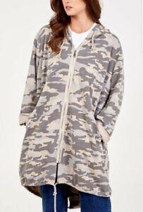 Ladies Long Camo Cardigan Coat Stone Oversized Zip Hoodie Lagenlook UK 14-22