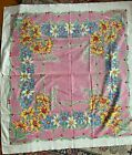 STUNNING+VINTAGE+1950s+Tablecloth+46x50%E2%80%9D+Floral+Pink+Daisies+Iris+Blue+White+