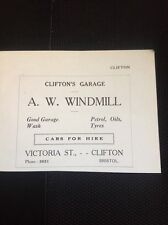 H7-1 Ephemera 1930s Advert A W Windmill Clifton Garage Bristol