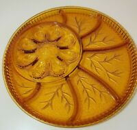 "Indiana Glass Amber Deviled Egg Relish Serving Tray 13"" Vintage Tree of Life"