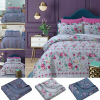 3 Piece Quilted Print Bedspread Throw Set 100% Cotton With Pillowcases All Sizes