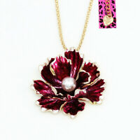 Betsey Johnson Enamel Pearl Peony Flower Pendant Chain Necklace/Brooch Pin Gift