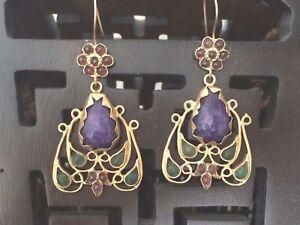 Bohemian Handmade Amethyst Carnelian 18K Plated Chandelier EARRINGS