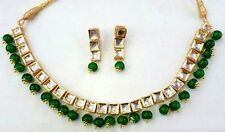 GREEN KUNDAN GOLD TONE BOLLYWOOD PARTY WEAR NECKLACE EARRINGS SET BRIDAL JEWELRY