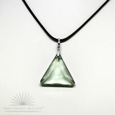PETITE Green Obsidian Gaia Stone Triangle Pendant Blessed John of God Brazil