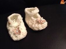 Cream Mary Jane style  booties 0-3 months