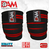 DAM 1 Pair  HEAVY DUTY KNEE WRAPS FOR POWERLIFTING/BODYBUILDING